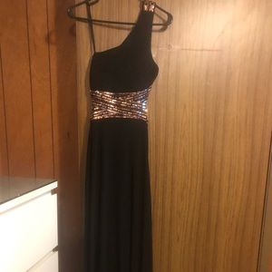 Black and Gold One Shoulder Prom Dress
